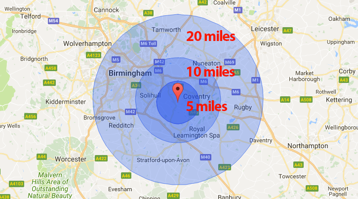 Radius Map Uk Delivery / Collection Options   J Hubbard & Son Ltd Radius Map Uk
